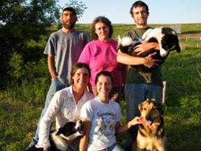 Left to right, top to bottom:  Adam, Momma Jane, Drew, Jillian and Julie.  Plus our three dogs.